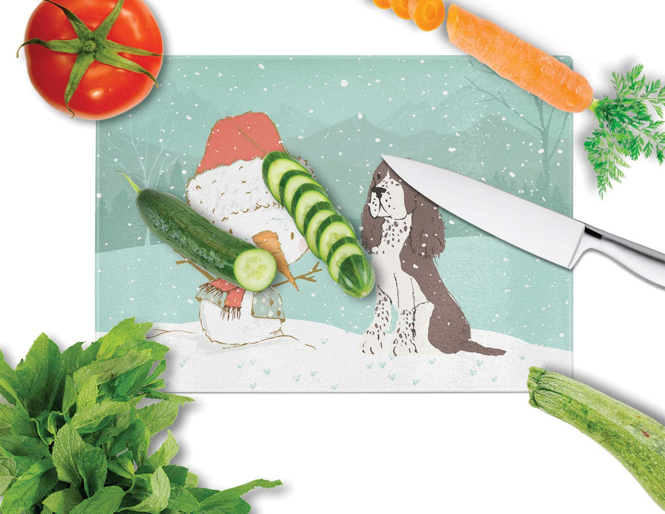multicolor 12H x 16W Carolines Treasures CK2074LCB Brown English Springer Spaniel Snowman Christmas Glass Cutting Board Large
