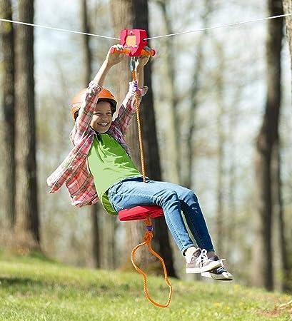 Zip Line Seat >> Amazon Com Hearthsong 80 Foot Red Zipline Kit For Kids Adjustable