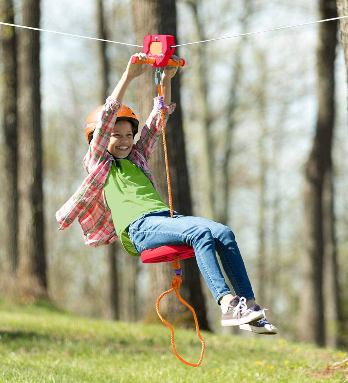 HearthSong 80-Foot Red Zipline Kit for Kids - Adjustable and Removable Seat - Non Slip Carriage Handles and Rubber Brake - Backyard Playground Equipment - Approx. 80'L