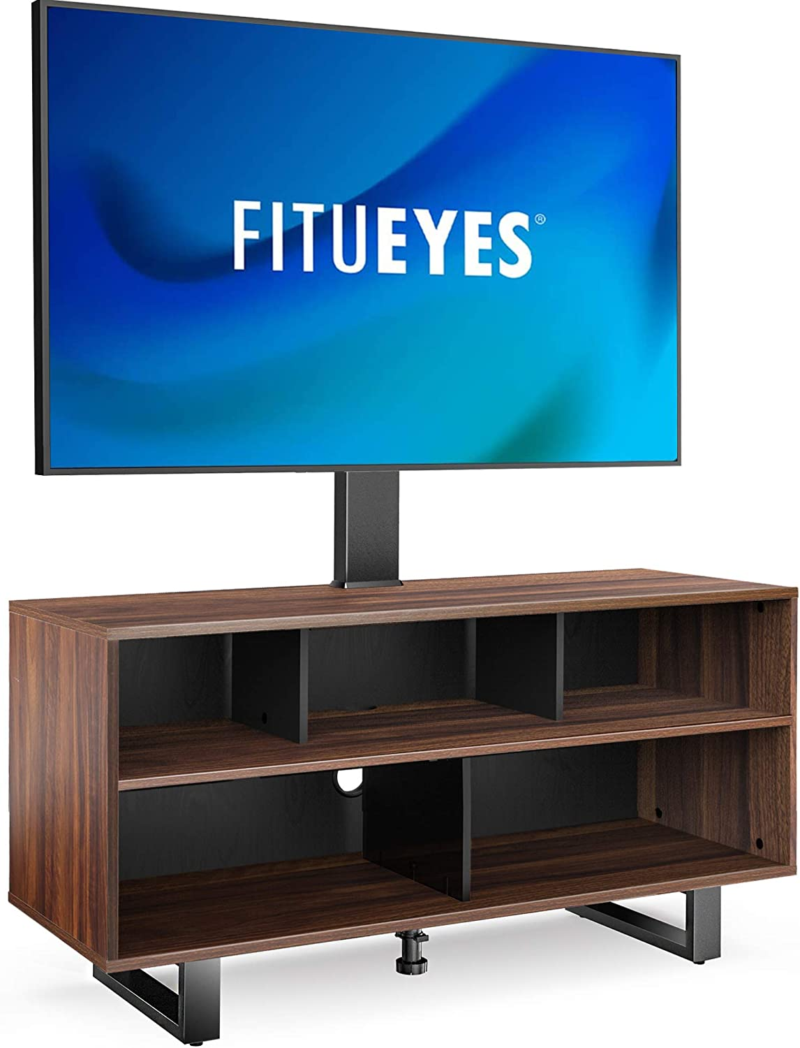 FITUEYES Swivel Floor TV Stand for 32-70 Inch TVS Universal Corner TV Stands with Storage for Media Console Holds Up to 110 Pounds 2 Levels Height Adjustment Television Stands VESA 400x600mm