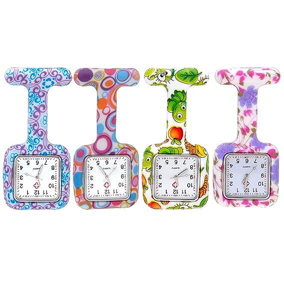 JSDDE Paquete de 4 Relojes de Enfermeras Imperdibles de Bolsillo Caja Cuadrada de Silicona, Patrón Colorido, Relojes de Cuarzo Clip On con Pinzas Analógicos ...