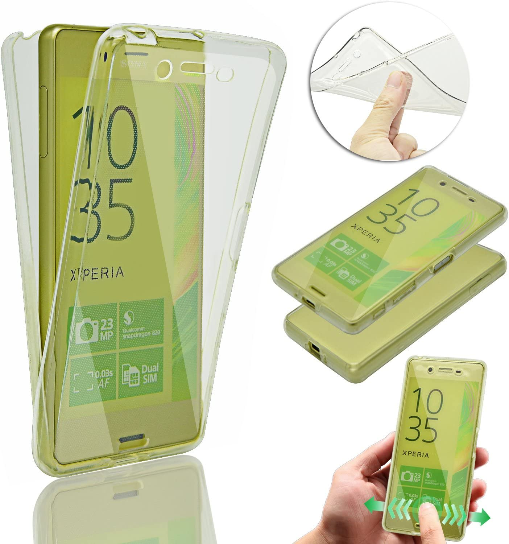 Vandot Sony Xperia XA | Funda Carcasa Protectora 360 Grados | TPU en Transparente | Full Body Protección Completa Doble Tapa Delantera + Trasera Silicona Gel Smart Case Cover para Smartphone Móvil