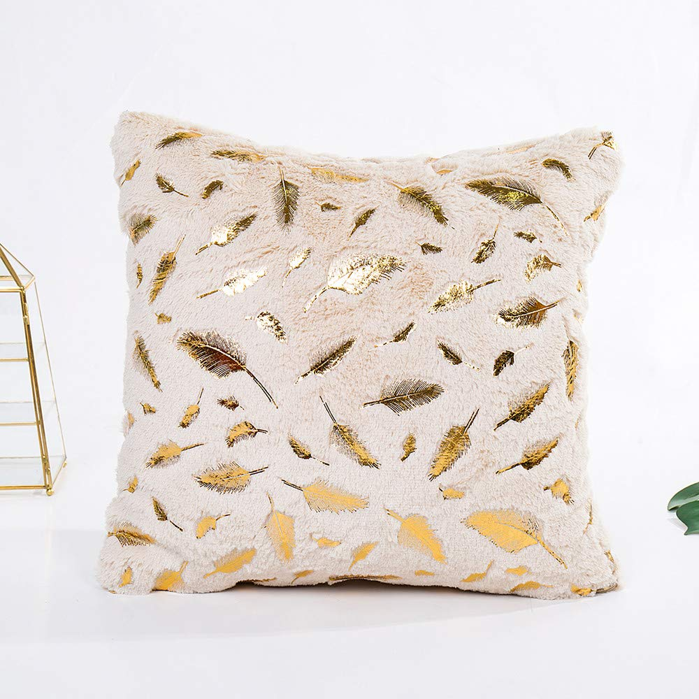 Amazon.com: Loneflash Pillow Cover, Feather Bronzing Gold ...