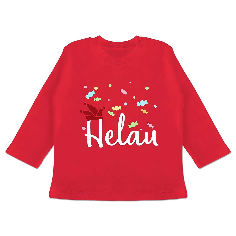 Baby T-Shirt Langarm Karneval und Fasching Baby Helau Rot-Wei/ß