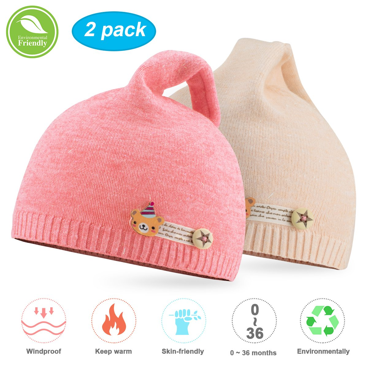 NIOFEI Baby Winter Beanie Hats For Unisex Baby Boys Girls Soft Cotton Cute Toddler Infant Kids Knit Beanies Hats Caps NF-002 Baby Hats