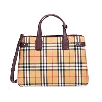 4a03896bcba Amazon.com  Burberry Medium Banner Vintage Check and Leather Tote- Deep  Claret  Shoes