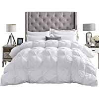 Luxurious All-Season Goose Down Comforter Duvet Insert, Exquisite Pinch Pleat Design, 1200 Thread Count 100% Egyptian Cotton Down Proof Fabric, 750+ Fill Power, 65 oz Fill Weight, White