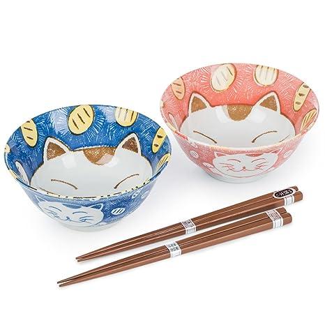 The Japanese Shop Juego de Cuencos japoneses para Gato Azul y Rosa