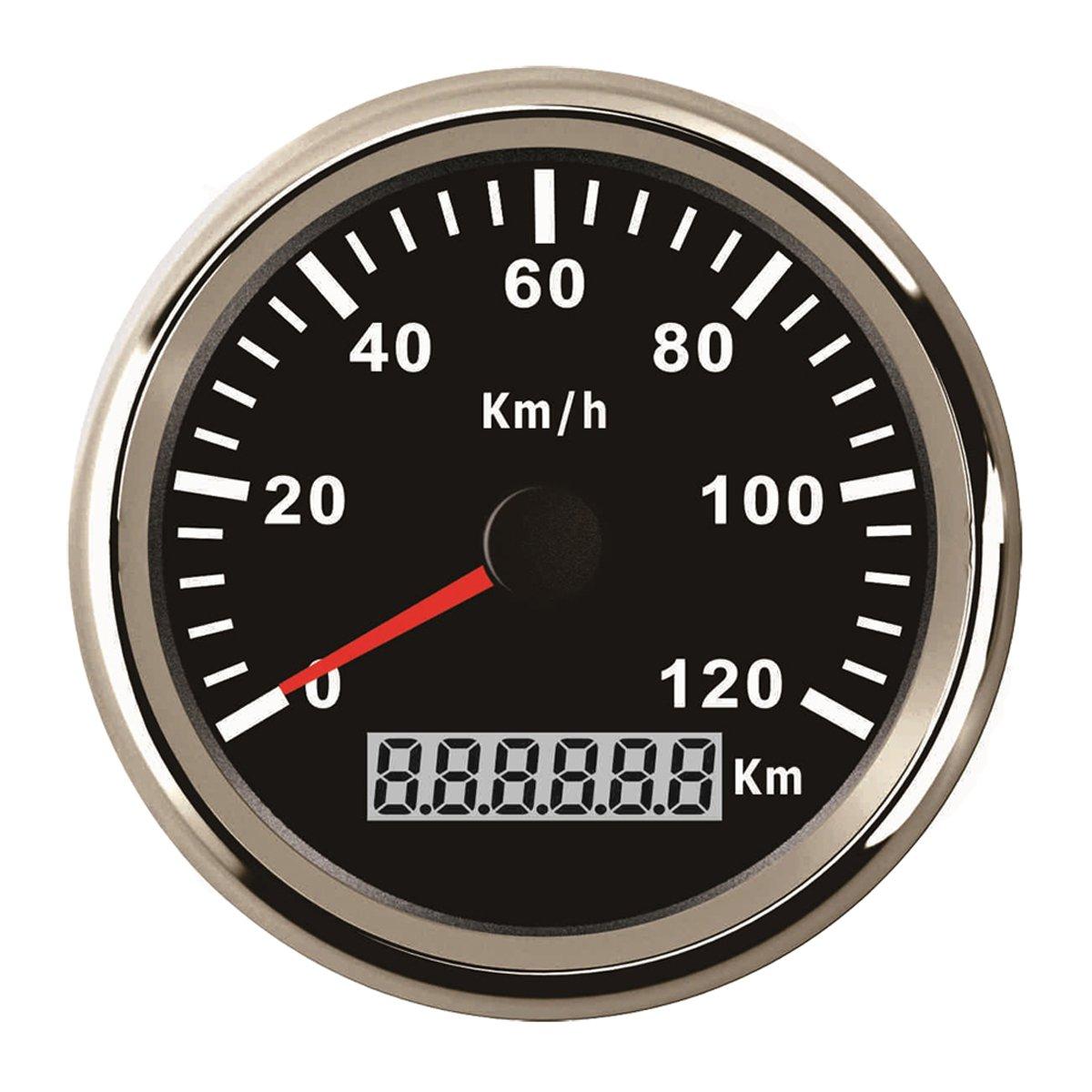Autool 85/mm Compteur de vitesse GPS inoxydable /étanche Jauge de vitesse de 120/km//H pour auto Camion 12/V 24/V