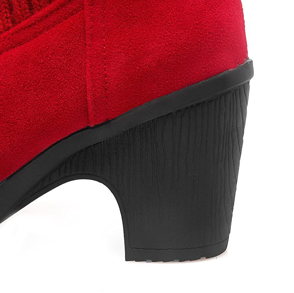 AmoonyFashion Womens Low-top Solid Pull-on Round Closed Toe High-Heels Boots