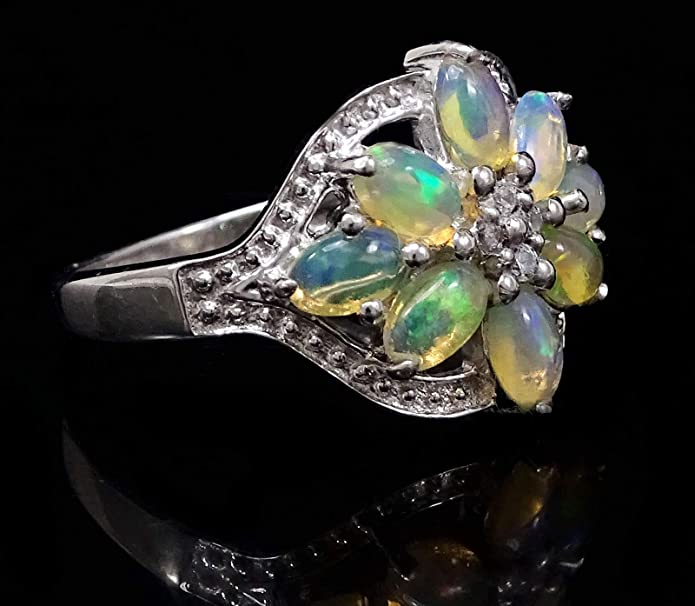 Banithani Ethiopian Opal 925 Gemstone Finger Ring/  Silver Rings Wedding Women Jewelry