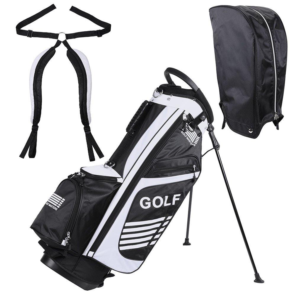 KTKAP ゴルフカートバッグ オーガナイザー ディバイダートップ レインフード付き B07K48B5QX ブラック&ホワイト
