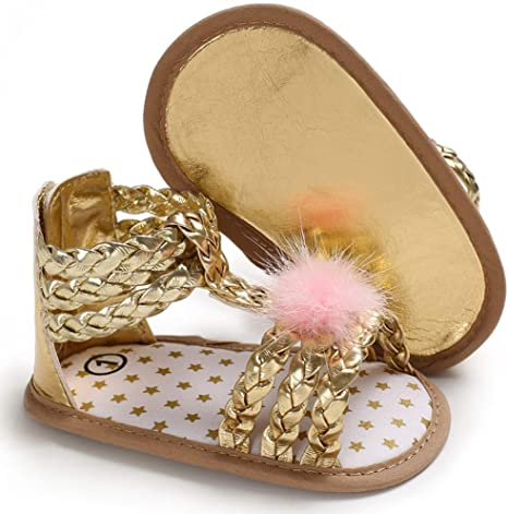 Voberry@ Infant Baby Boys Girls Leather Rubber Sole Summer Roman Sandals First Walkers Shoes