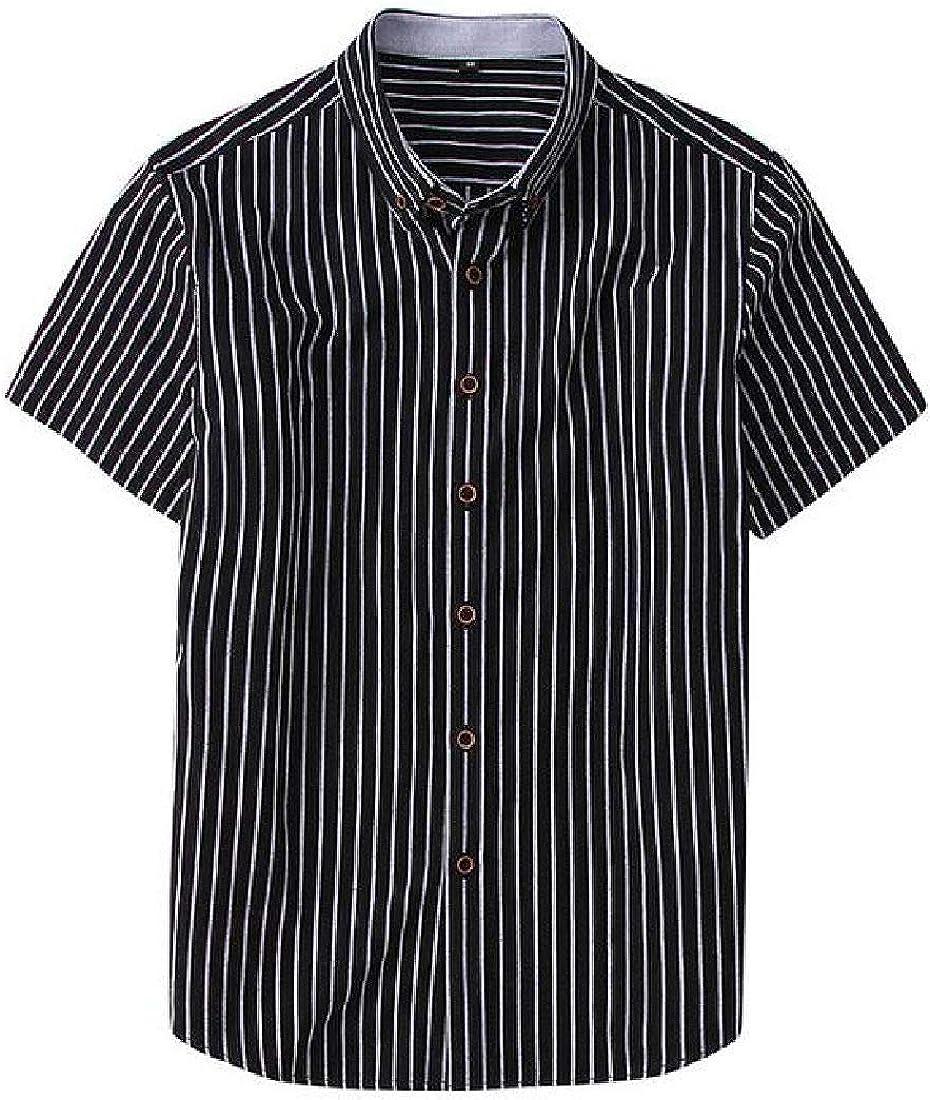 pipigo Mens Short Sleeve Casual Slim Button Front Stripe Shirts