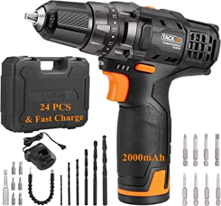 "TACKLIFE 12V 2.0Ah Cordless Drill, 240 In-lbs with 19+1 Torque Setting, 1 Hour Fast Charger, Variable Speed, 3/8"" Metal Chuck, 24pcs & Tool Bag Included - PCD01B"