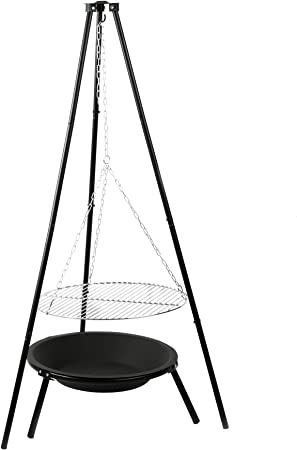 Schwenkgrill Rost aus Edelstahl mit Feuerschale Pan 37 Grill BBQ Holzkohlegrill