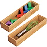 mDesign Bamboo Kitchen Cabinet Drawer Organizer Stackable Tray Bin - Eco-Friendly, Multipurpose - Use in Drawers, on Countert