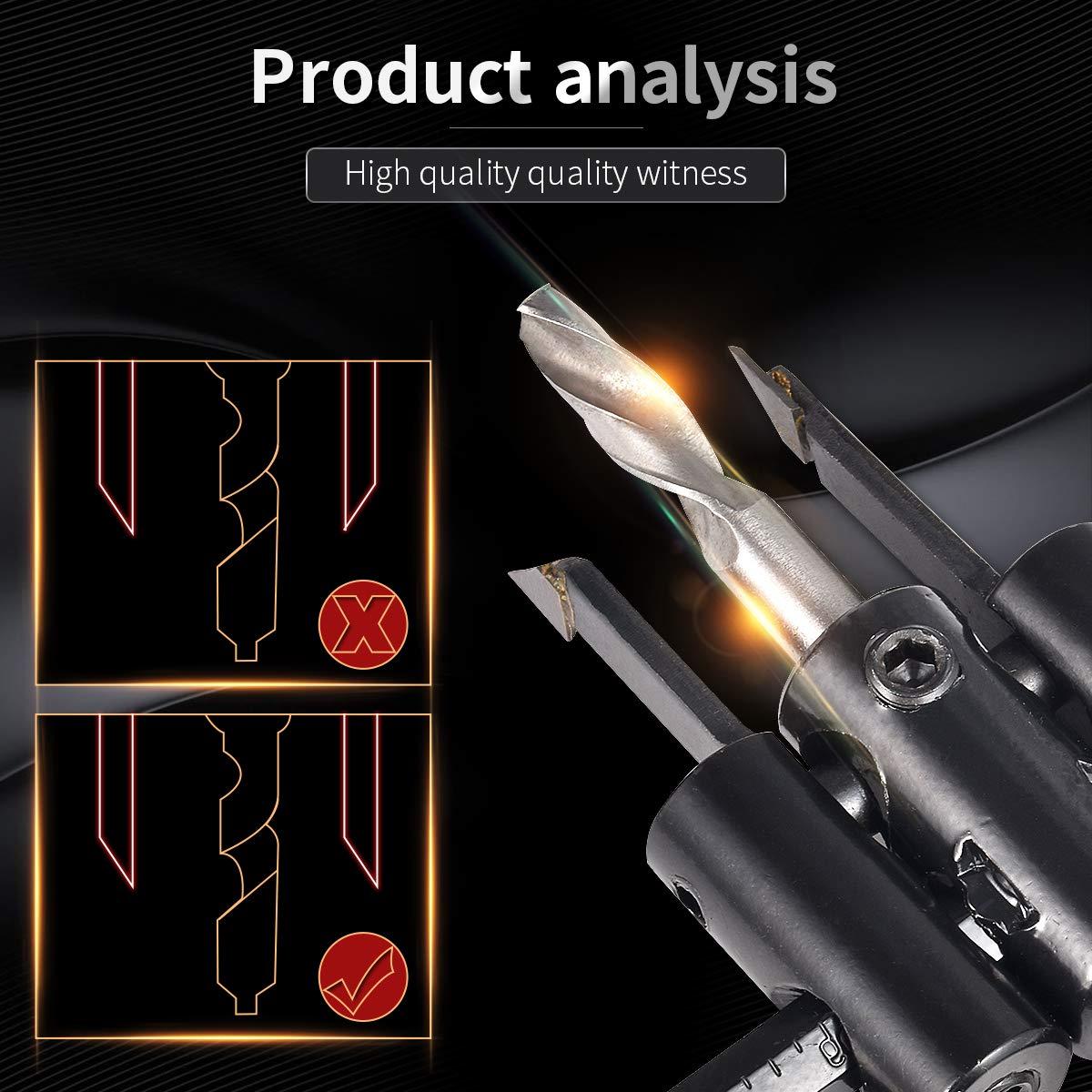 broca para paneles de yeso de madera herramientas de bricolaje con orificio helicoidal sierra de corte redondo KATUR Kit de sierra de corte de orificio de c/írculo ajustable de 30 mm a 200 mm
