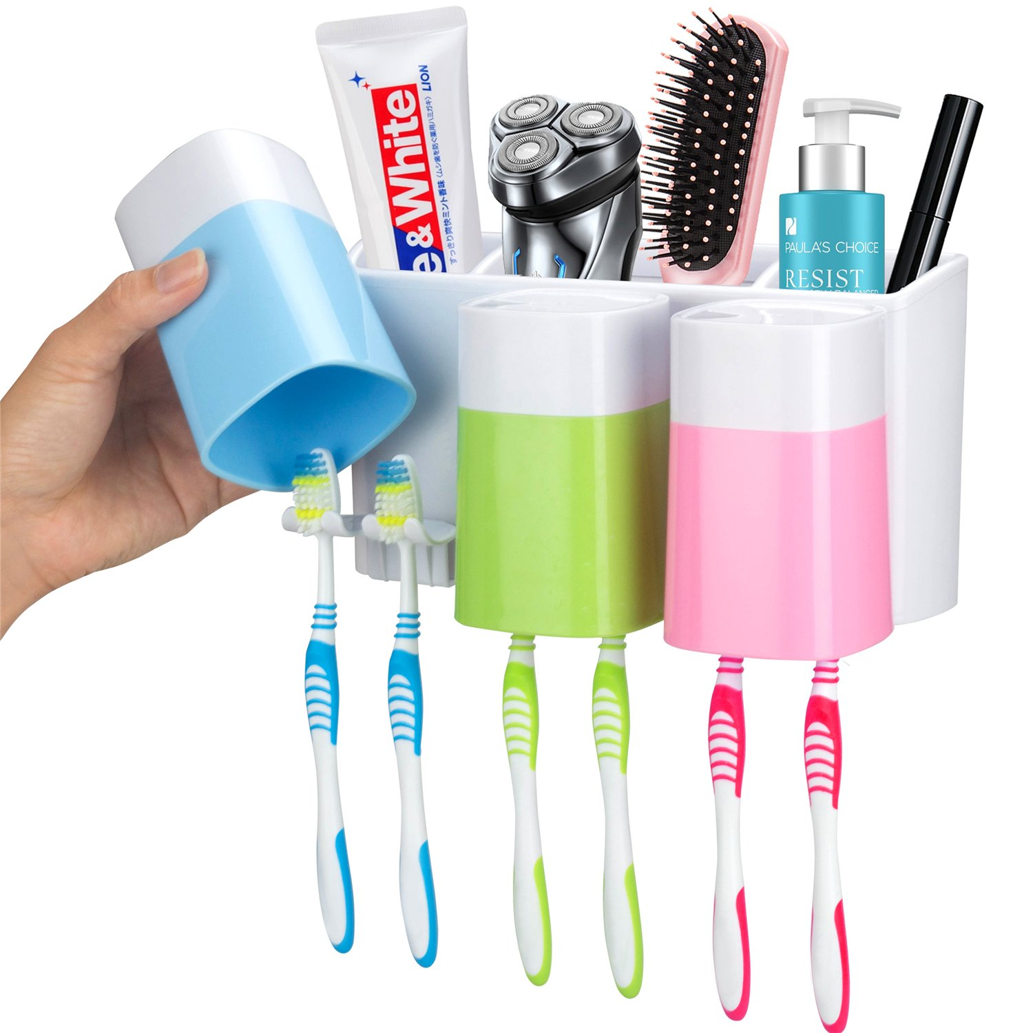 Toothbrush Holder Wall Mount 3 Cups Electric Toothbrush Storage Set- No Drill Nail Needed (3 Color)