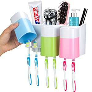 iHave Toothbrush Holder Wall Mount 3 Cups Electric Toothbrush Storage Set- No Drill Nail Needed (3 Color)