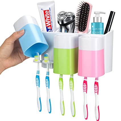 Beau IHave Toothbrush Holder Wall Mount 3 Cups Electric Toothbrush Storage Set   No Drill Nail Needed