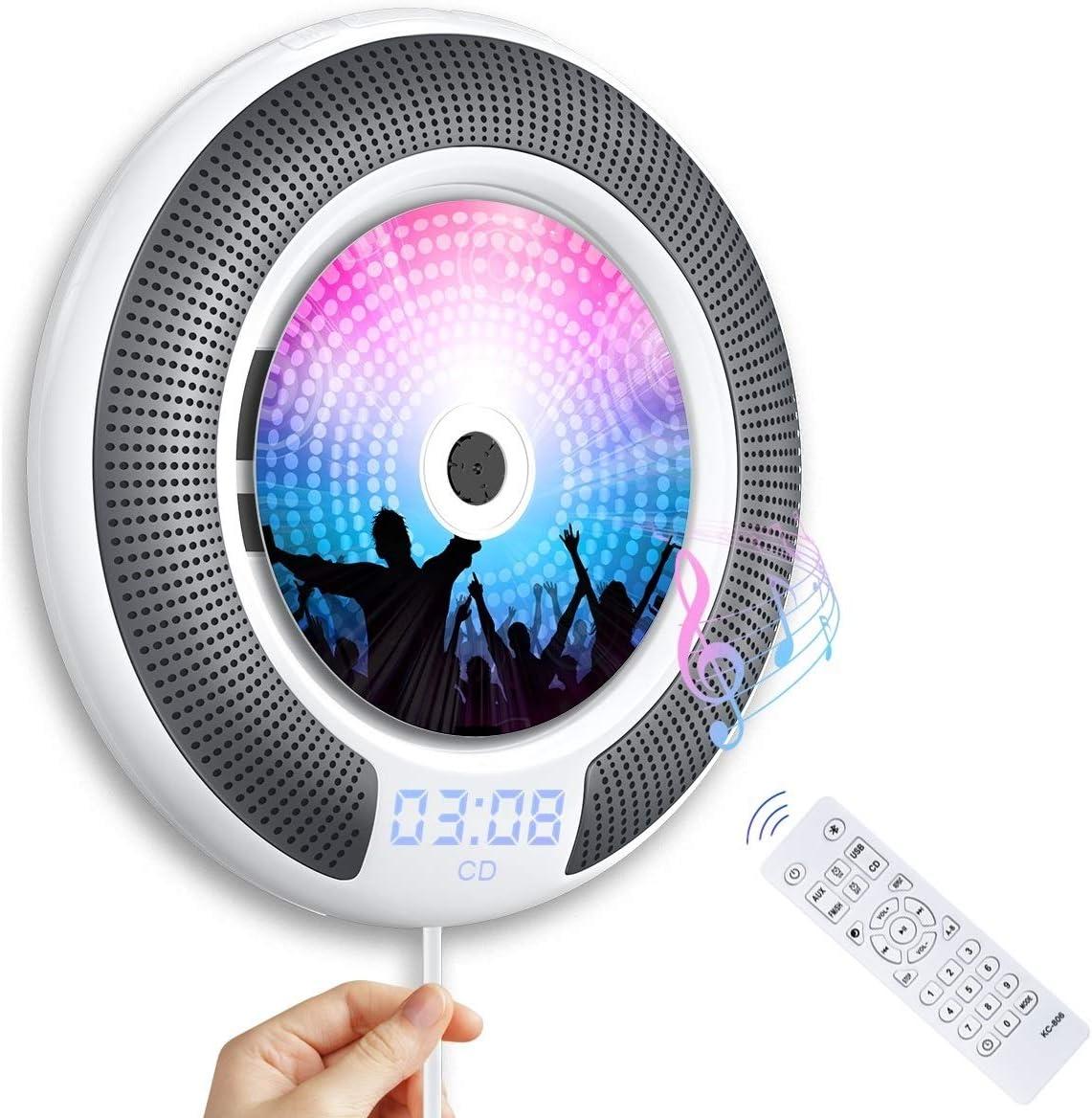 Gueray Reproductor CD Bluetooth con Control Remoto Radio FM Altavoces incorporados Conector de Auriculares Altavoz HiFi FM Salida de Entrada USB/AUX incorporada