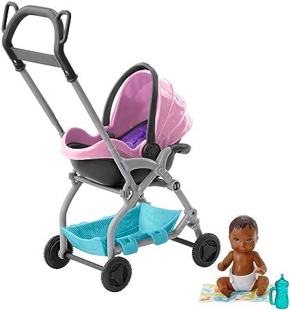 fashion styles new arrivals look good shoes sale Barbie Famille Skipper baby-sitter, petite figurine bébé avec poussette  rose et bleu, cosy amovible et accessoires, jouet pour enfant, FXG95