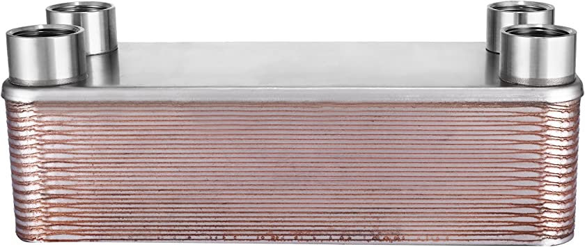 Outdoor Wood Furnace Boiler Plate Heat Exchanger 10 Plate 1 INCH FITTINGS 5 X 12