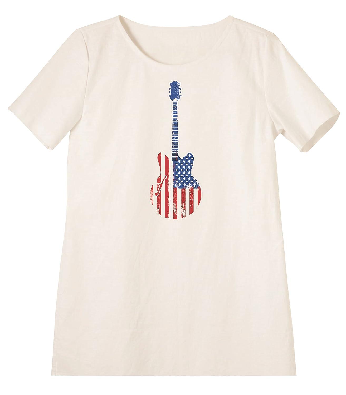 Grungle Flag Style Printed Linen Short Sleeves Vintage Mini Shift Dress WDS/_06