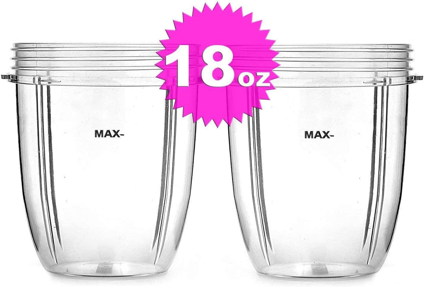 ELEFOCUS 2 X 18 oz Short Cups for Nutri Bullet