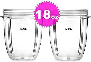 ELEFOCUS 2 X 18 oz Short Cups for Nutri Bullet