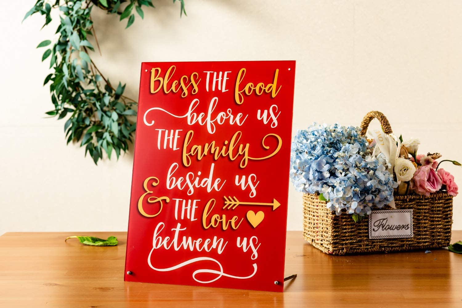 "Calculs Thanksgiving Home Decoration 16.5""x12.2"" Acrylic Elegant Signs 'Bless The Food Before us.' for Holiday Décor Wall Art Table Plaques"