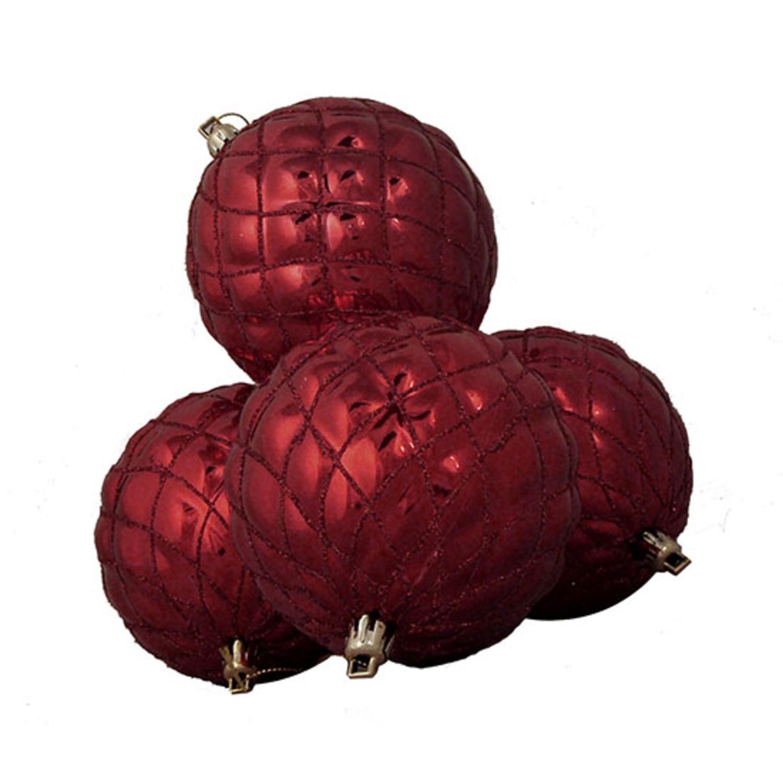 DAK 4 Count Shiny Burgundy Diamond Design Shatterproof Christmas Ball Ornaments, 3.75''