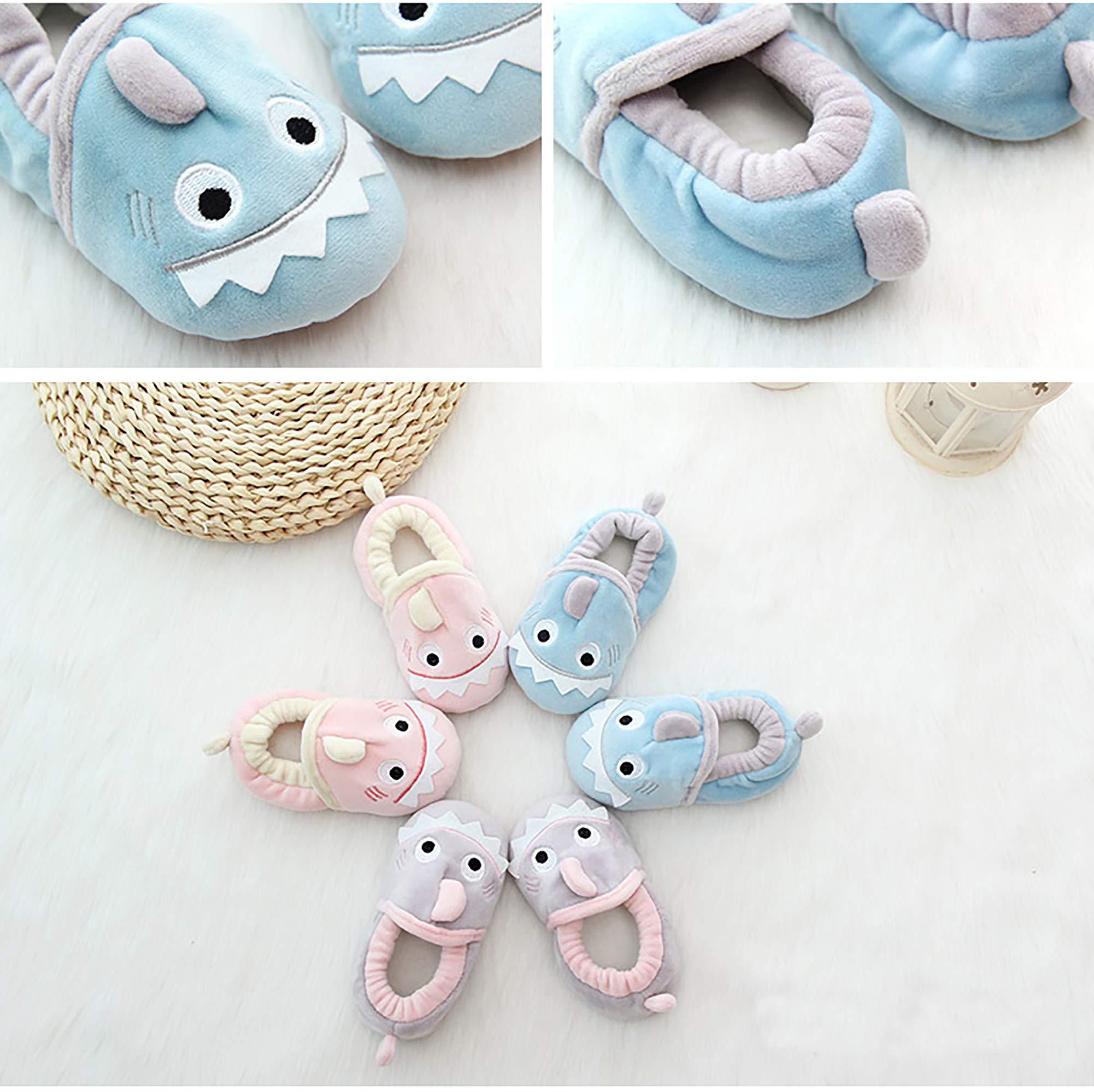 SDBING Toddler Baby Boys Girls Cute Cartoon Shark Shoes Soft Anti-slip Winter Home Slippers 6-24 Months (12-18 Months, Cute Shark Pink) by SDBING (Image #4)