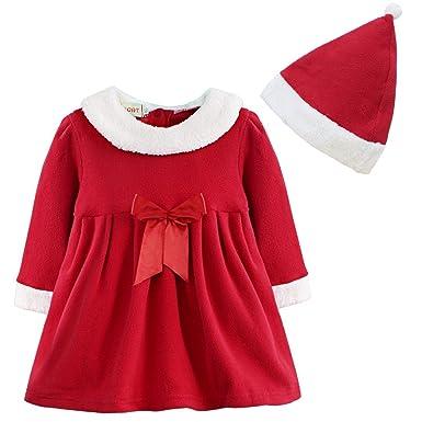 b57e6f08eef39 Freebily Costume Tenues Déguisement Mère Noël pour Bébé Fille Robe Fleece à  Manches Longues + Bonnet