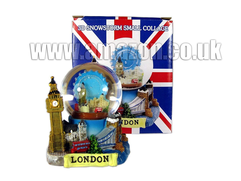 London Souvenir 3D Small De Luxe Collage Snow Globe Detailing London Landmarks Big Ben Tower Bridge etc.