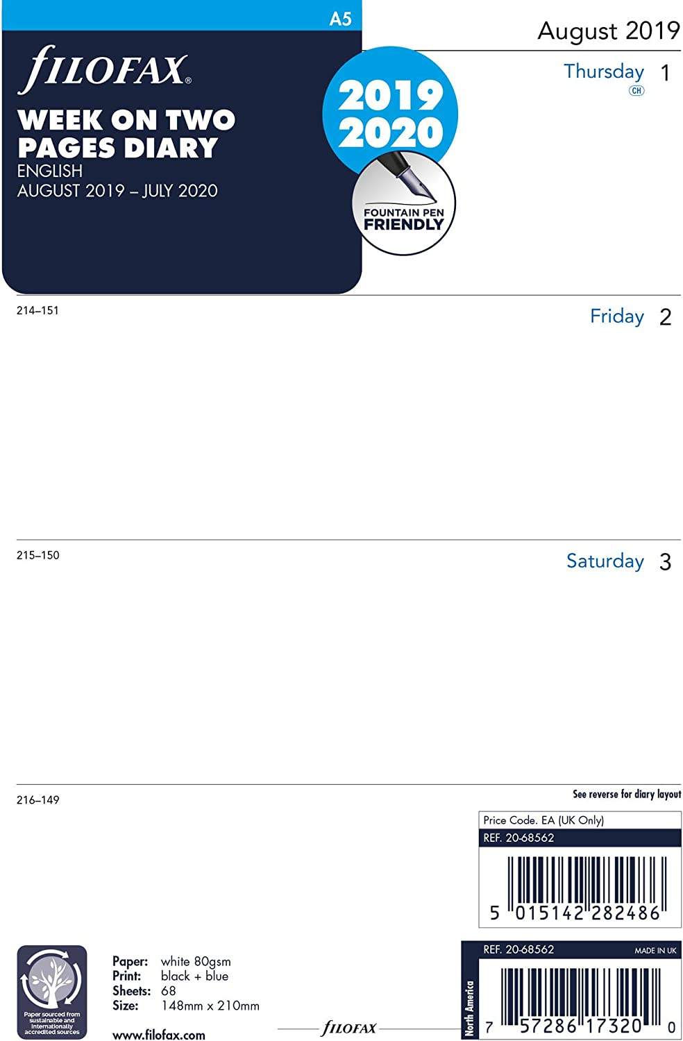 English Filofax August 2019 to July 2020 Academic Week to View C68562-20 A5