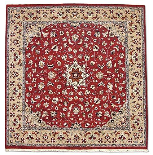 Traditional Persian Handmade Kashan Square Rug, Wool, Burgundy/Maroon, 8' x 8' 2