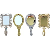 Crafticia Metal Engraved Handheld Mirror Set of 4 Decorative Vintage Compact Vanity Mirrors (18X10 cm, Golden Silver)