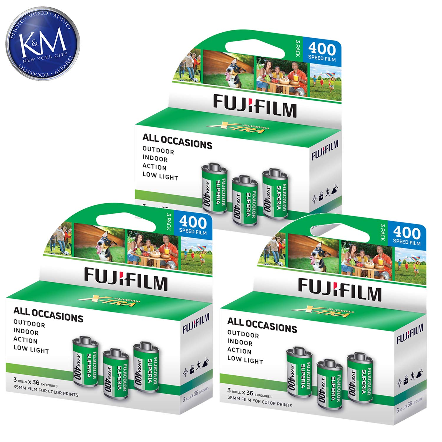 Fujifilm Fujicolor Superia X-TRA 400 35mm Color Negative Film - 36 Exposure (9 Pack) by K&M