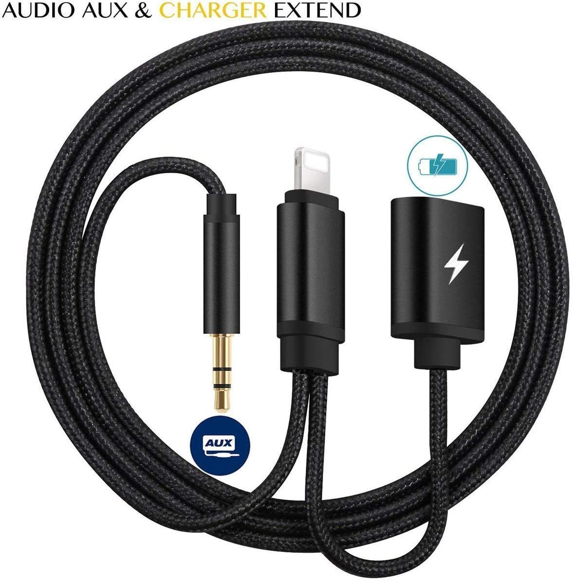 Aux Cord for Car Apple MFi Certified Compatible for iPhone 11 XS XR X 7 7P 8 8P Lightning to 3.5mm Audio Auxiliary Cable Aux Cable Charger Splitter