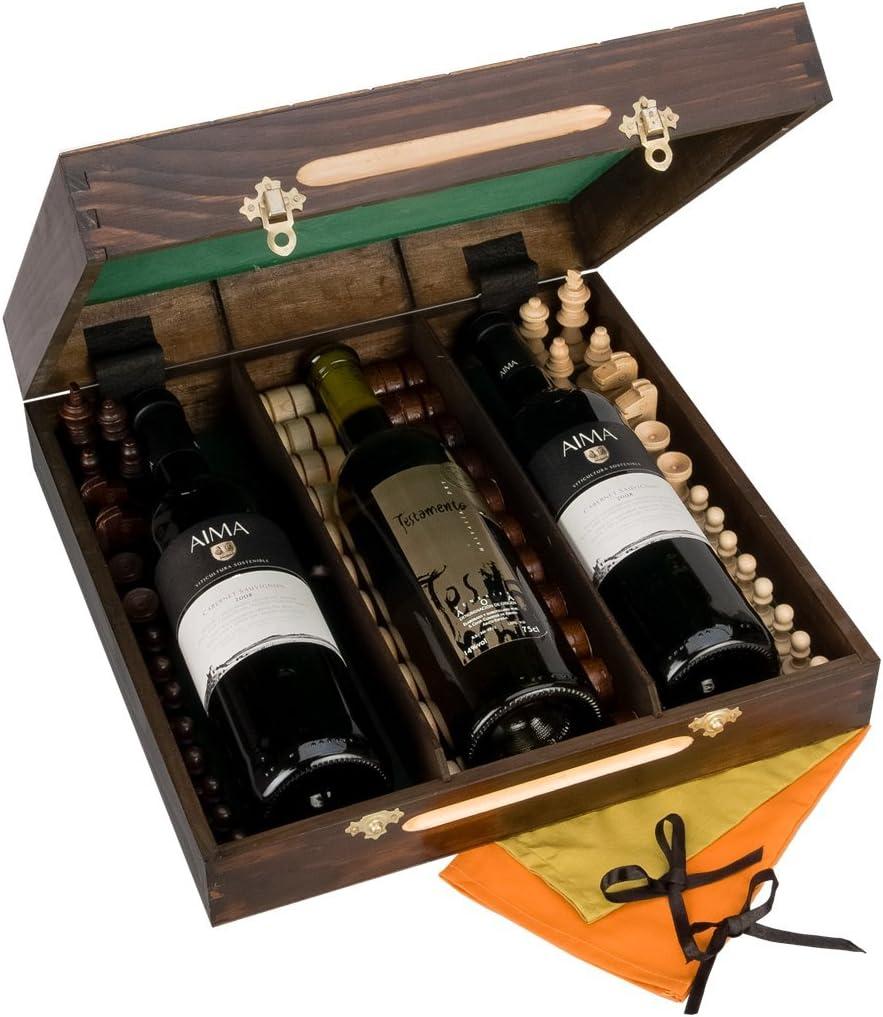 Triple con ajedrez de madera y de whisky de botella, Caja de Regalo de Lujo de madera para Vino, Cava o Checkers Juego: Amazon.es: Hogar