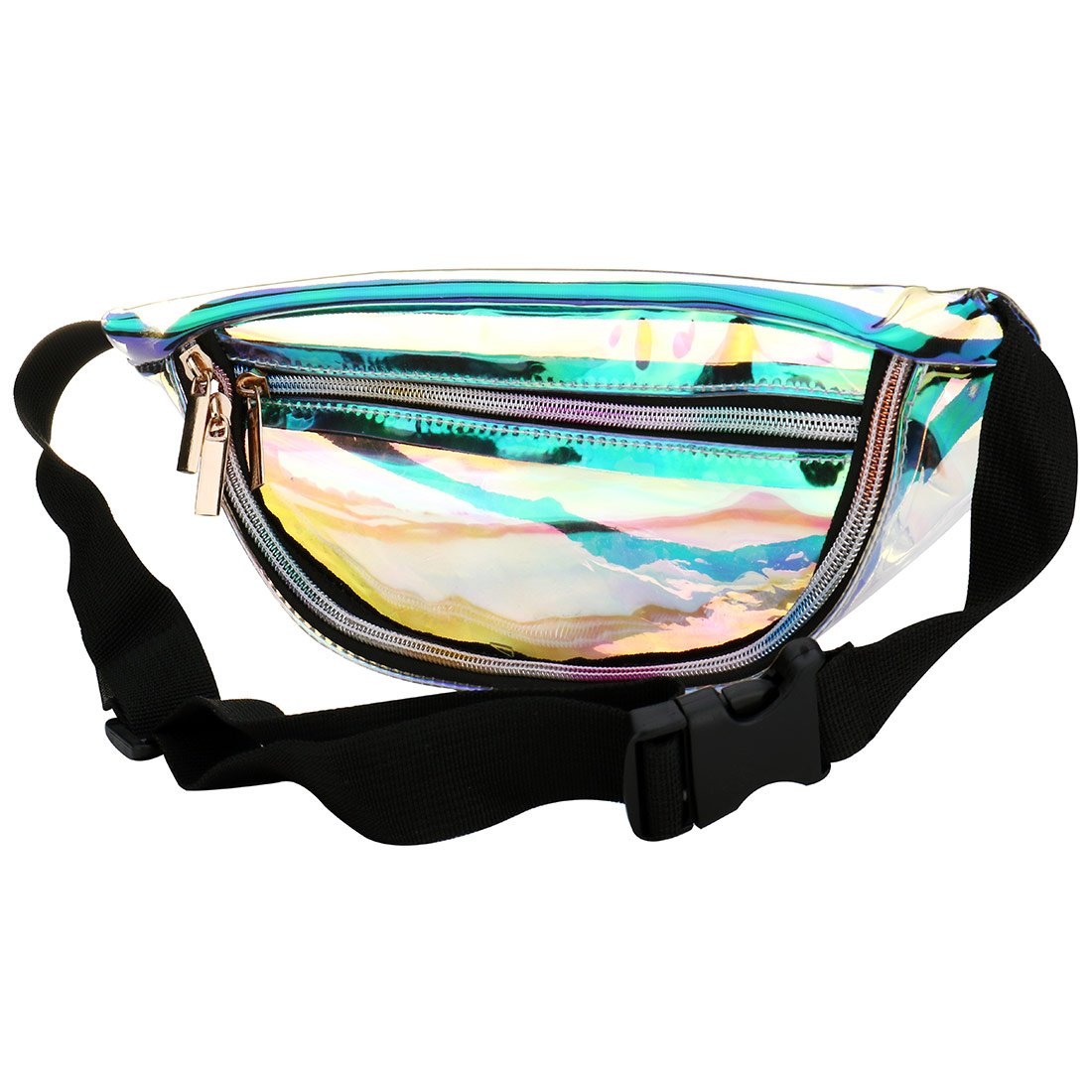 Clear Holographic Fanny Pack, PVC Shiny Fanny Belt Waist Pack Bum Bag for Women