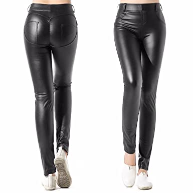 061d9f62022c5 CFR Women s Sexy Faux Leather Leggings High Waist Stretch Jeggings Slim Look  Tight Pants  2