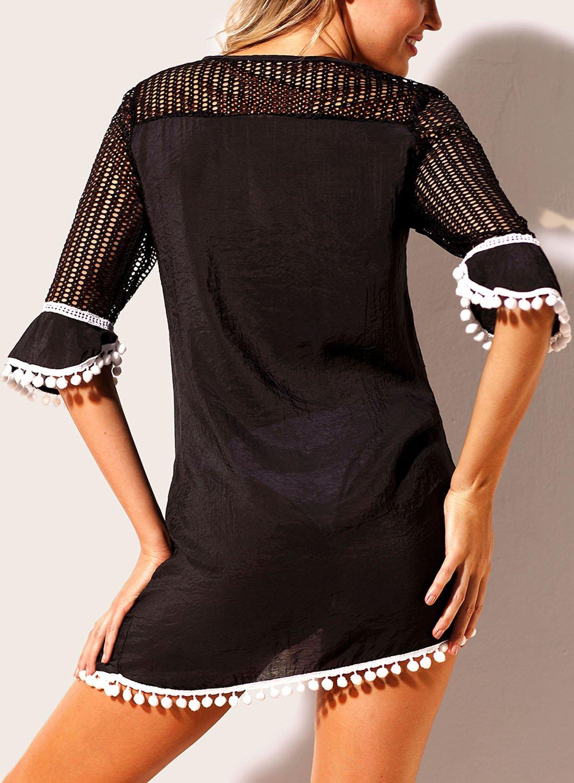 7ebe3cb1cf BLENCOT Women's Crochet Chiffon Tassel Swimsuit Bikini Pom Pom Trim Swimwear  Beach Cover Up < Cover-Ups < Clothing, Shoes & Jewelry - tibs
