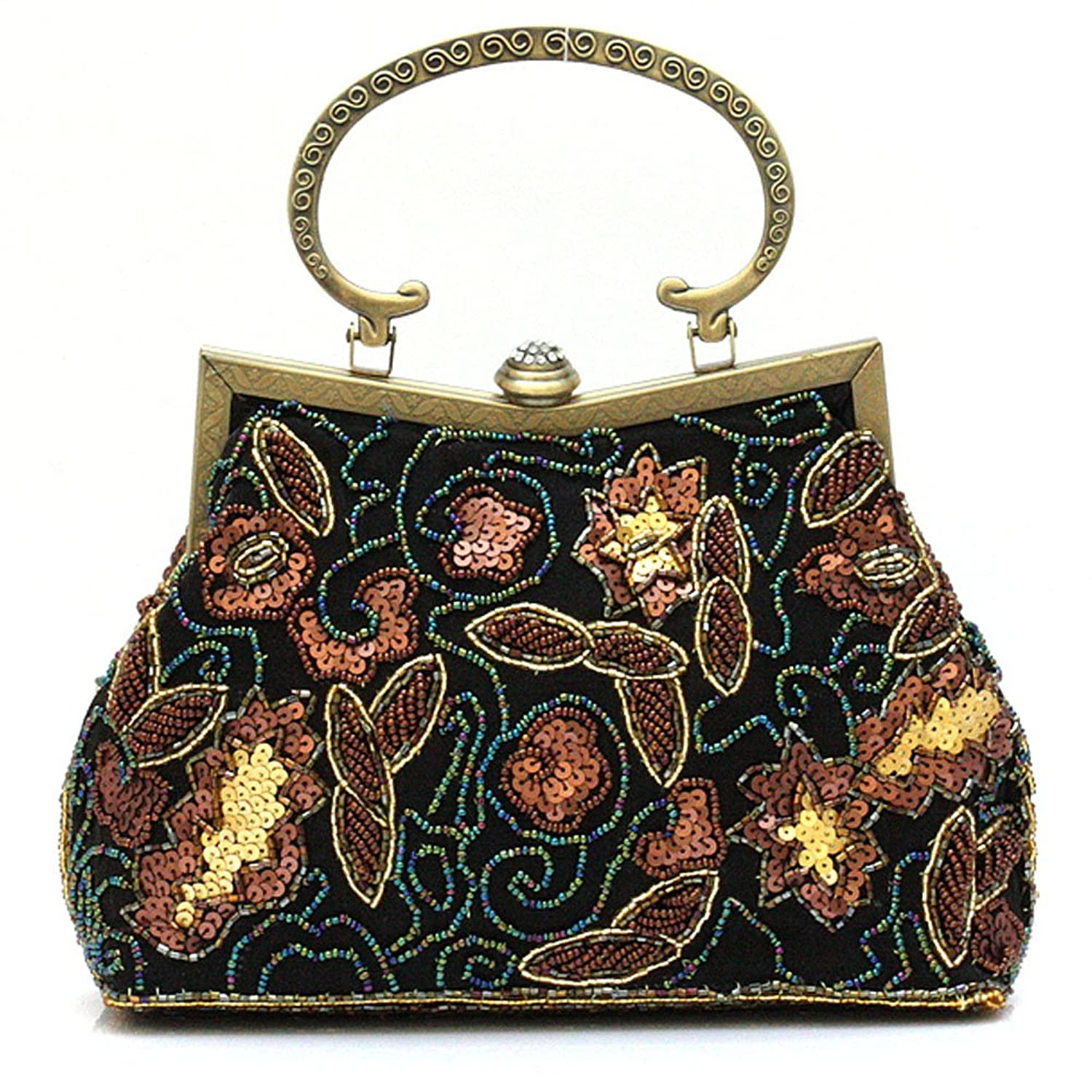 1920s Style Purses, Flapper Bags, Handbags Handmade Beaded Floral Evening Tote Bag Vintage Purse Classic Party Clutch Holiday Gift  AT vintagedancer.com