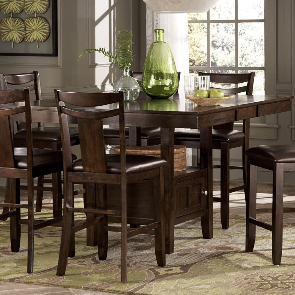 Weston Home Broome Expandable Storage Counter Height Dining Table   Dark