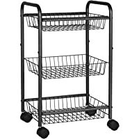 SONGMICS 3-Tier Metal Rolling Cart on Wheels with Baskets, Lockable Utility Trolley with Handles for Kitchen Bathroom…