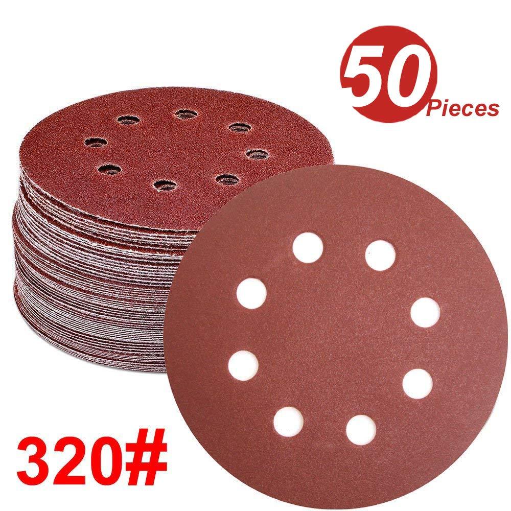 5-Inch 8-Hole 40-Grit Hook and Loop Aluminium Oxide Sandpaper for Random Orbital Sander WINGONEER® WINGONEER 50PCS Sanding Discs Pads