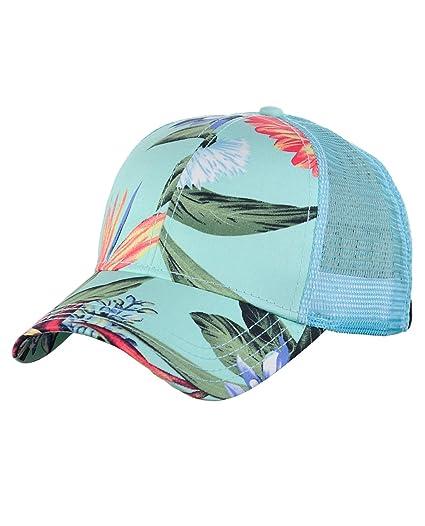 6e5ffc97fbf C.C Floral Print Front Panel Mesh Back Adjustable Precurved Baseball Cap Hat